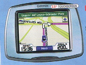 An ad for a GPS system in an American circular, using a German market picture