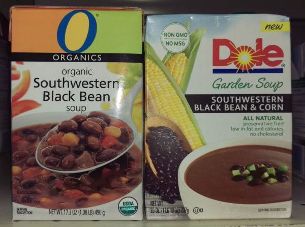soups - comparative packaging of Dole and O-Organics